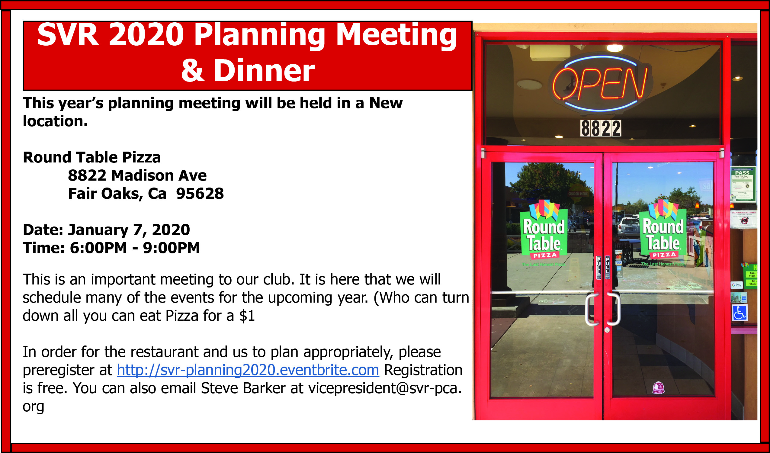 SVR Planning Meeting 2020 - New Location @ Round Table Pizza | Fair Oaks | California | United States